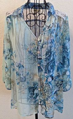Anthropologie Fig & Flower Boho Peasant Top Blouse Lace Floral Size Petite Large #Anthropologie #Blouse