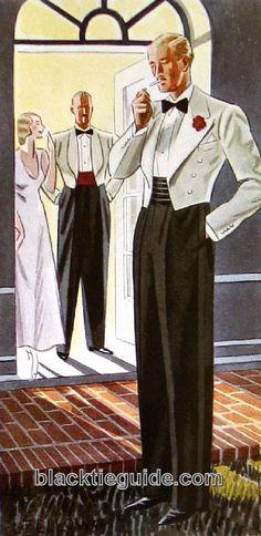 The (thankfully) short-lived mess jacket craze popularized color and cummerbunds in summer formal wear. http://www.blacktieguide.com/History/08-Depression_Era.htm