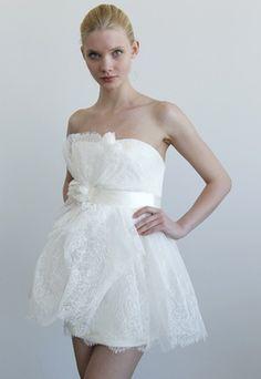 Marchesa Bridal 2011 White Lace Cocktail Mini Dress - Celebrities