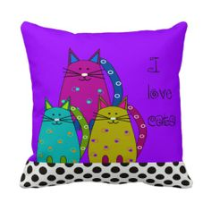 Whimsical Cat Face Pillow Purple and Polka Dots http://www.zazzle.com/whimsical_cat_face_pillow_purple_and_polka_dots-189385130185364897?rf=238282136580680600 $31.95