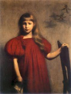 Józef Pankiewicz – Dziewczynka w czerwonej sukience