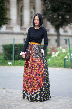 Shopping for vintage maxi skirts. aris Street Style Spring 2015 - Best Street Style Paris Fashion Week - Harper's BAZAAR