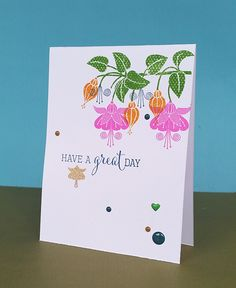 Clearly Besotted Fuchsias CAS Card Floral Card