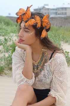 Monarch Butterfly Flower Crown Headband (Boho Wedding Bride Bridal Butterflies…