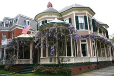 by Lawrspen, A house in Charleston, S. Carolina with the wrap-around porch covered in blooming Wisteia