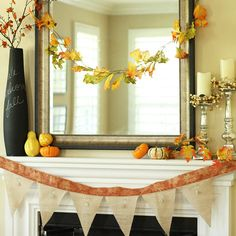 Transform your mantel for fall with a crafty garland! More fall mantels: http://www.bhg.com/thanksgiving/decorating/fall-mantel-decorating-ideas/