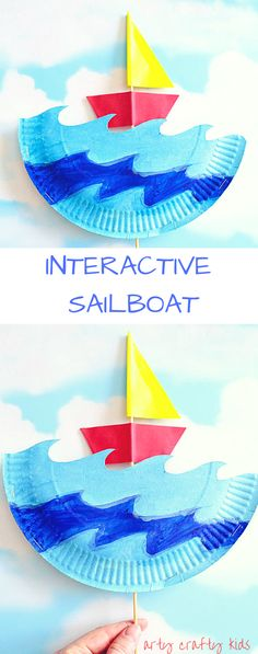 Interactive Paper Plate Sailboat Summer Crafts For Toddlers, Summer Kids, Toddler Crafts, Beach Crafts For Kids, Diy For Kids, Kids Crafts, Paper Plate Art, Craft With Paper Plates, Paper Plate Crafts