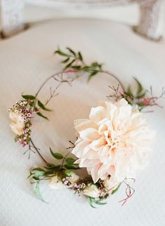 Romantic flower wreath for hair. More brides should wear these.