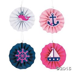 Nautical Girl Large Hanging Fans - 12 Pk Party Supplies Canada - Open A Party
