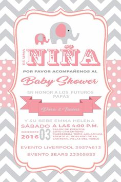 invitacion baby shower elefante rosa