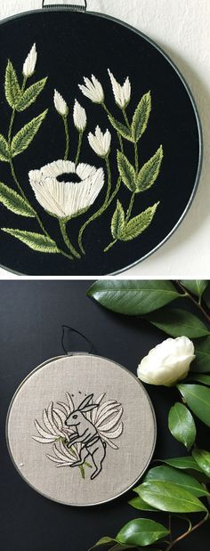Embroidered hoop art by Tusk and Cardinal    nature embroidery | floral hoop art | modern embroidery | black fabric embroidery
