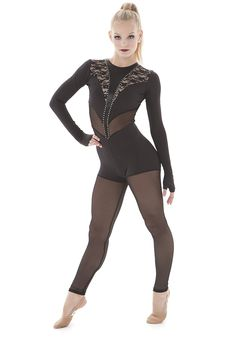 Black lace, black mesh, black tricot. Black on black on black. Gorgeous edgy dance costume