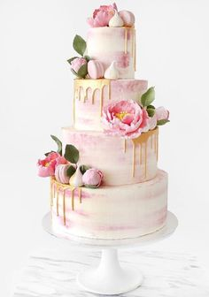 Gold dripped on pink wedding cake - For all your cake decorating supplies, please visit https://www.craftcompany.co.uk/