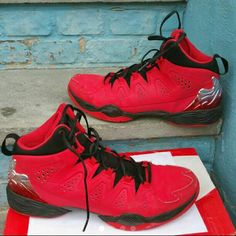 """Red & Black Men Jordan Size 12 The shoes are in good condition, there is a minimal scratch on the front of the right shoe, as shown on pic #2, but nothing serious. They are a size 12. They are red and black, with a design on back. Box not included. """"PRICE FIRM"""" Jordan Shoes Sneakers"""