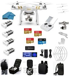 DJI Phantom 3 Professional (Pro) 4K Video Camera EVERYTHING YOU NEED Kit + 3 DJI Extra Batteries + Prop Guards + 3 SanDisk 64GB UHS-I/U3 Micro SDXC SD Cards w Reader + Cleaning Cloth (With Backpack) drone reviews