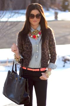 Great idea for leopard sweater and I love that necklace!!
