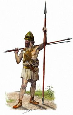 An Iberian warrior from the fourth century BCE. Like many Iberians, this warrior has equipment from many different cultures.