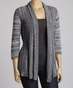 Take a look at the Belldini White & Black Variegated Open Cardigan - Plus on #zulily today!