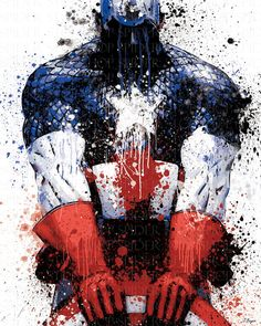 Captain America Grunge 2 18 x 24 by SpiderStopShop on Etsy, $15.00
