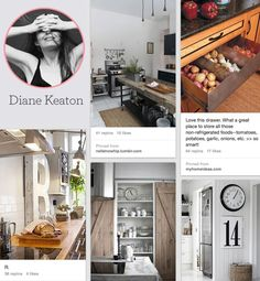9 Celebrities To Follow On Pinterest...Diane Keaton's dream kitchens (and ours now too)...
