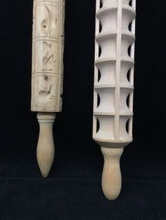 PAIR OF WOODEN CUT-OUT ROLLING PINS.