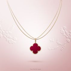 Van Cleef & Arpels Magic Alhambra 1-motif long necklace #VCAalhambra - Yellow gold, carnelian -