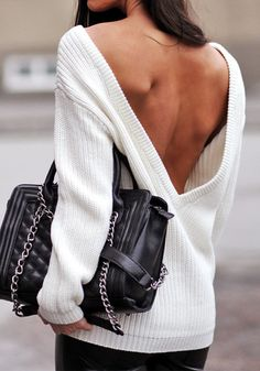 Deep-V Back Sweater - Sexy V Back Sweater