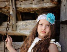 Turquoise Flower Headband Flower Girl by KennaBridalMaternity