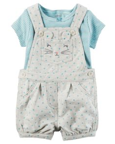Designed with mom-approved comfort and ease, this 2-piece set features cozy French terry shortalls and a supersoft coordinating tee.