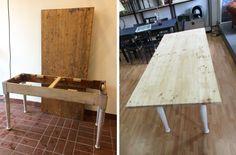 Liebe Vintage-Freunde, diesen langen Esstisch hat Kirsten, unsere Tischlerin, recht zügig unter ihre Fittiche genommen. Das Gestell ist neu verleimt und in cremeweiß lackiert, die Weichholz-Tischplatte ist bereits abgeschliffen… Bis Mitte nächster Woche könnt Ihr euch melden um den Tisch zu kaufen und die Tischplatte in eurer Wunschfarbe beizen und ggf. einkürzen zu lassen... #LangerTisch #LangerEsstisch #ShabbyChicTisch #VintageMöbel #VintageFurniture #RetroMöbel #RetroFurniture Dining Table, Furniture, Home Decor, Long Dining Tables, Friends, Love, Timber Wood, Essen, Decoration Home