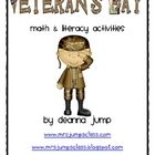 Veteran's Day Math and Literacy Activities by Deanna Jump - This unit includes an original song/book honoring soldiers, poetry journal cards, art project, writing activities, math journal prompts, and math c...