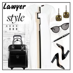 """""""Lawyer Style"""" by ladygroovenyc ❤ liked on Polyvore featuring Sandberg Furniture, Linda Farrow, McKleinUSA, Valentino and Montblanc"""