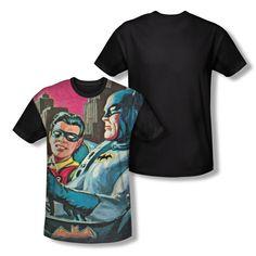 Batman Classic Tv - Bat Signal Adult Black Back 100% Poly T-Shirt