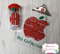 End of year Teacher gift set personalized clipboard and monogrammed tumbler