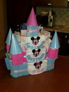 Torta di pannolini castello Diapers cakes