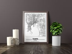 Excited to share the latest addition to my #etsy shop: Tampa city map print, Minimalistic wall art poster, Florida gifts, Birthday Gift, For father, Father