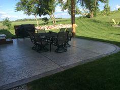 Stamped concrete patio with pergola by Sierra Concrete Arts. Concrete Patios, Concrete Art, Stamped Concrete, Driveway Landscaping, Driveways, Porches, Pergola, Landscape, Outdoor Decor