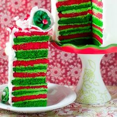 red and green striped cake #seasonseating #harristeeter