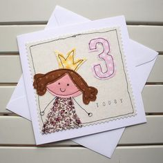 3rd Birthday Card Handmade Machine Embroidered Princess