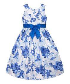 Look at this American Princess Blue Floral A-Line Dress - Girls on #zulily today!