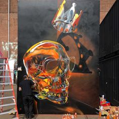 Third Edition of the Kings Spray Street Art Festival. London-based Fanakapan at work. Photographer Karin du Mai.