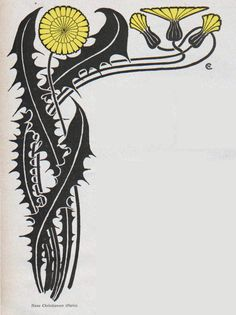 Hans Christiansen, Jugend magazine, Via. Art Nouveau Pattern, Art Nouveau Design, Art Nouveau Illustration, Botanical Illustration, Motif Floral, Arte Floral, Art And Craft Design, Design Art, Nouveau Tattoo