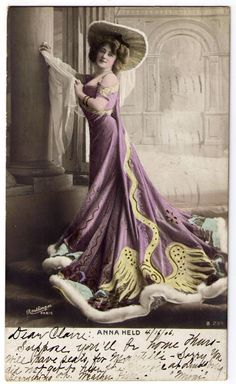 Anna Held Postcard B234 Reutlinger Paris Full Color RPPC 1906 Postmark 1¢ Stamp | eBay