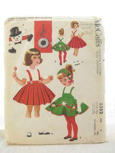 McCalls 2352 Toddler Christmas Dress Suspender Skirt Pattern. $15.00, via Etsy.