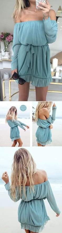Blue Long Sleeve Off The Shoulder Dress -In love with this! Everything about it is gorgeous (๑•ᴗ•๑)♡ perfect color too.