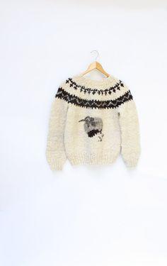 1970's hipster wool sweater handmade vintage by WindingRoadVintage, $48.00