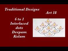 Dots Rangoli Art 18- 6 to 1 interlaced Dots Muggu - Kolam designs