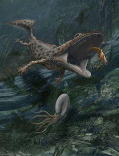 Mahavisaurus dentatus, un temnospóndilo del triásico temprano de Madagascar, a punto de engullir una gamba. Por Davide Bonadonna