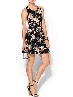 Floral Ponte Fit & Flare Dress Product Image