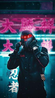 Design Discover My artwork «Cyberpunk ninja Gas Mask Art, Masks Art, Graffiti Wallpaper, Neon Wallpaper, Cyberpunk Aesthetic, Cyberpunk Art, Rauch Fotografie, Hacker Wallpaper, Profile Pictures Instagram